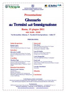 18 (2011) Presentazione Glossario dei Termini sull Immigrazione