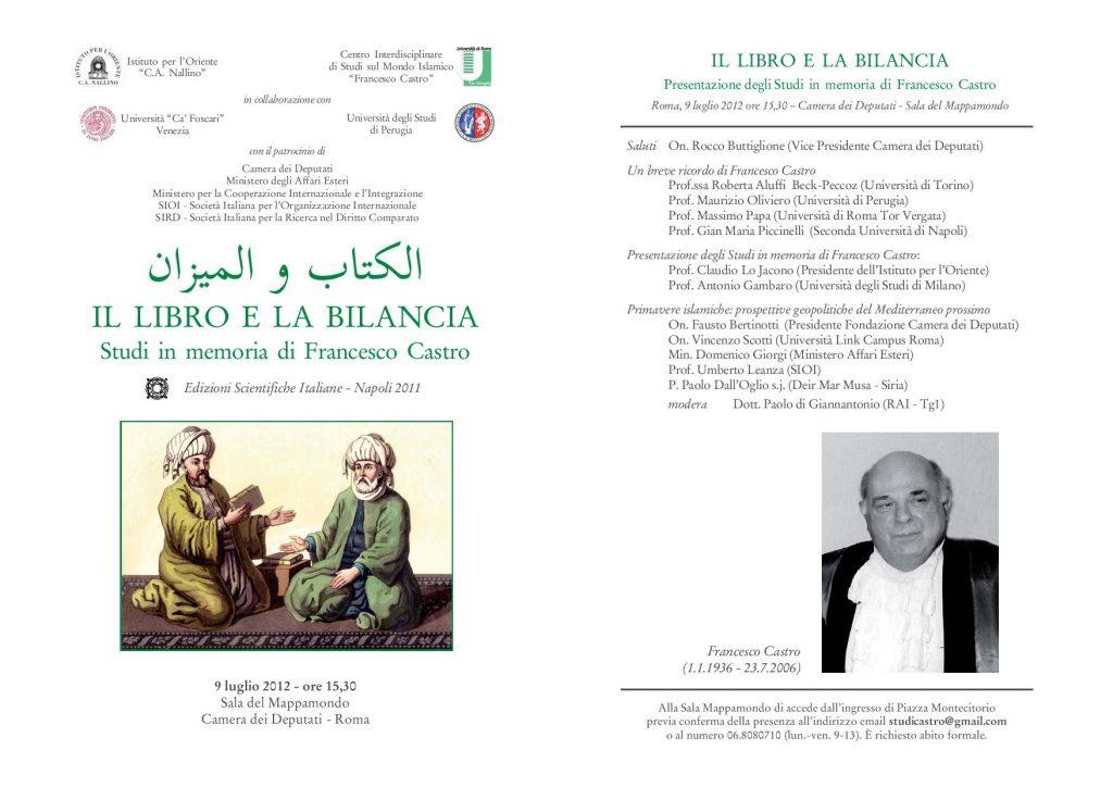 21 (2012) IL LIBRO e LA BILANCIA Studi in memoria di Francesco Castro