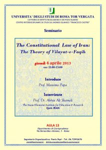 22 (2013) The Constitutional Law of Iran, the Theory of Vilayat-e-Faqih