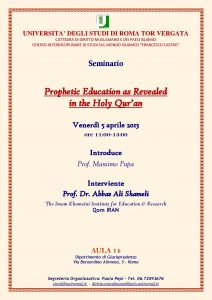 23 (2013) Prophetic Education as Revealed in the Holy Qur'an