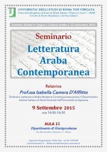 Letteratura Araba Contemporanea 9.9.2015